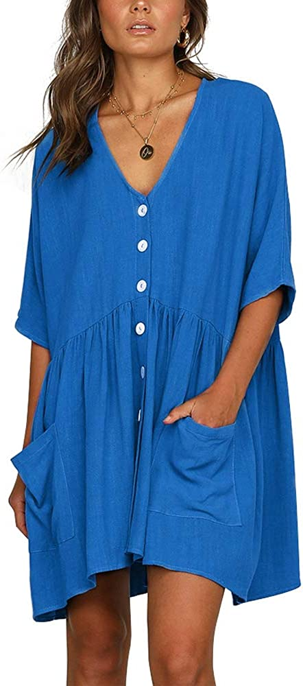LLZ.COQUE Womens Casual Midi Dress Cotton V Neck Short Sleeve Button Down Swing Loose Tunic Sun Dress with Pockets