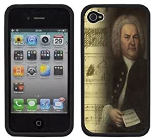 Bach Music Composer Handmade iPhone 4 4S Black Hard Plastic Case