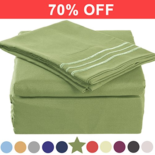 Microfiber Cal King Size Bed Sheet Set - Made Of 100% Brushed Microfiber Polyester 1800 Series - Extra Deep Pocket - Stain Resistant, Warm, Breathable And Hypoallergenic - 4 Piece (Green) - TEKAMON