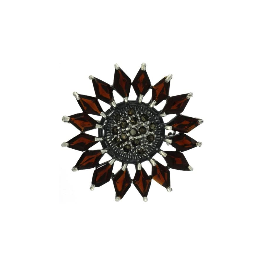 Sterling Silver Marcasite Flower Brooch Pin w/ Diamond Shape Garnet Stones, 1 1/2 in. (38mm)