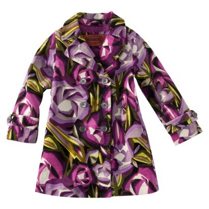 Missoni for Target® Infant Toddler Girls' Floral Trench Coat, Purple, X-Large (4T-5T)