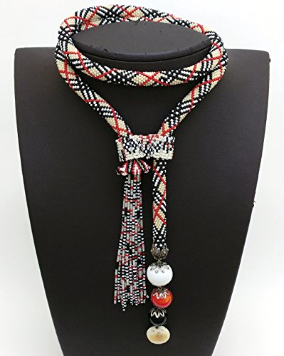 Plaid pattern beaded crochet long necklace NC431