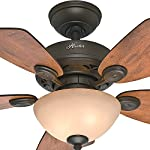 Hunter Fan Company 52090 Hunter Watson Indoor ceiling Fan with LED Light and Pull Chain Control, 34-inch, New Bronze 20 CLASSIC CEILING FAN: The traditional Watson fan comes with LED light covered by tea stain glass that will keep home interior current and inspired; Measures 34 x 34 x 18.2 3Inch MULTI-SPEED REVERSIBLE FAN MOTOR: Whisper Wind delivers ultra-powerful airflow fan with quiet performance; Change the direction from downdraft mode during the summer to updraft mode during the winter LED BOWL LIGHT KIT: Energy-efficient dimmable LED light bulbs let you control the lighting and ambiance of the living space; The long lasting bulbs have longer lifespan than traditional bulbs