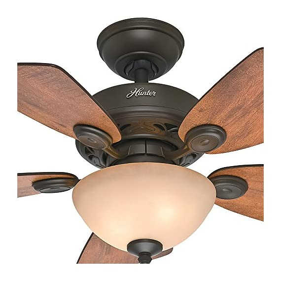 Hunter Fan Company 52090 Hunter Watson Indoor ceiling Fan with LED Light and Pull Chain Control, 34-inch, New Bronze 8 CLASSIC CEILING FAN: The traditional Watson fan comes with LED light covered by tea stain glass that will keep home interior current and inspired; Measures 34 x 34 x 18.2 3Inch MULTI-SPEED REVERSIBLE FAN MOTOR: Whisper Wind delivers ultra-powerful airflow fan with quiet performance; Change the direction from downdraft mode during the summer to updraft mode during the winter LED BOWL LIGHT KIT: Energy-efficient dimmable LED light bulbs let you control the lighting and ambiance of the living space; The long lasting bulbs have longer lifespan than traditional bulbs