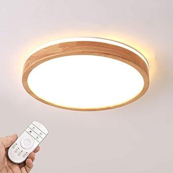 JDMYL 24W LED Deckenleuchte Energieklasse A ++ 360 /° Top Glow Deckenlampe 3000K Warmwei/ßes Licht f/ür Wohnzimmer Schlafzimmer Arbeitszimmer Deckenleuchte /Φ30cm Runde Nordic Holz Deckenleuchte
