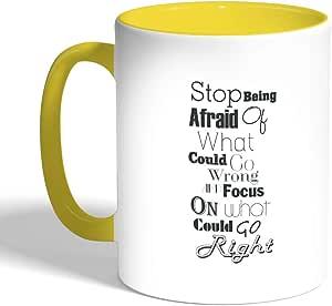 كوب سيراميك للقهوة، لون تركواز، بطبعة عبارات باللغة الانجليزية