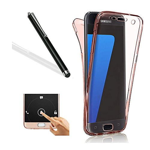 Galaxy S6 Edge Plus Case,Samsung S6 Edge Plus TPU Cover,Leeook Ultra Thin Transparent Clear Rose Gold Design Shockproof Cover Soft TPU Silicone Slim Fit Scratch Resistant Front and Back Full Body 360 Degree Protection Gel Bumper Case for Samsung Galaxy S6 Edge Plus + 1 x Free Black Stylus