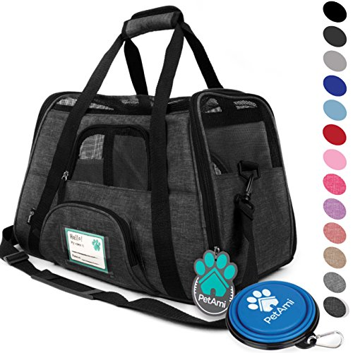 - PetAmi Premium Airline Approved Soft-Sided Pet Travel Carrier | Ventilated, Comfortable Design with Safety Features | Ideal for Small to Medium Sized Cats, Dogs, and Pets (Small, Charcoal)