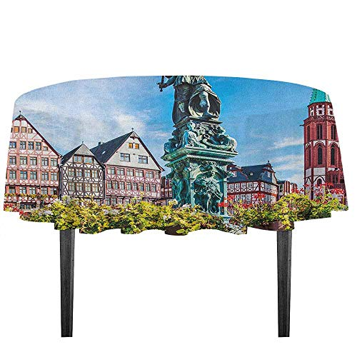 kangkaishi European Waterproof Anti-Wrinkle no Pollution Old City of Frankfurt Germany with Historical Buildings Statue Cityscape Scenery Outdoor Picnic D51.18 Inch Multicolor -