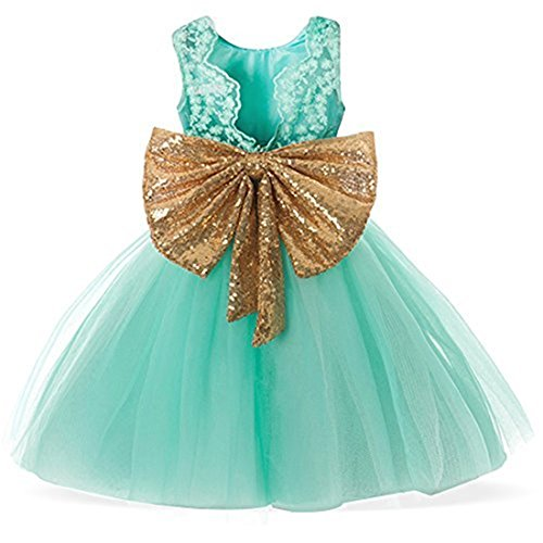 Dress for Girl Wedding Party Size 3T 4 Years Toddlers Princess Pageant Elegant Tulle Dresses Little Girls Birthday Ball Gown A Line Backless Special Occasion Tops Children Kids Gowns (Green 130) for $<!--$20.99-->