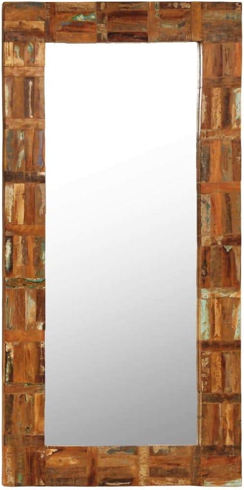Nuevos Temas Espejo de Pared Madera Maciza de traviesas del Tren 60x120 cm Tamaño: Amazon.es: Hogar