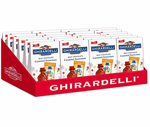Ghirardelli Mini Seasonal Holiday Christmas Box - Pack of 24 - Milk Chocolate Caramel Snowman Gift Box - Christmas Gift Box for Family, Friends, Her, Him and more