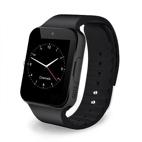 CHEREEKI Bluetooth Smart Watch Reloj Inteligente Teléfono Inteligente Pulsera con Cámara Pantalla Táctil Soporte SIM /