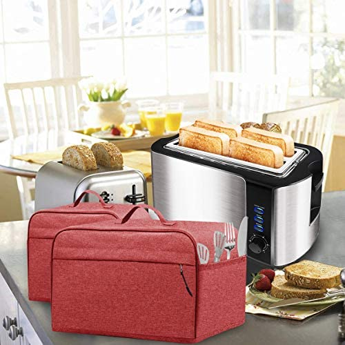 INMUA Toaster Cover for 4 Slice Long Slot (15.5 x 7.5 x 8 inches),Toaster Appliance Cover with Pockets, Dust and Fingerprint Protection (Red)