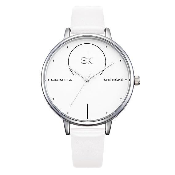 shengke k0040l hembra Reloj analógico para mujer verano Colores claros cuarzo blanco Genuine Leather Strap Reloj
