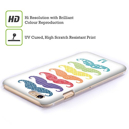 Head Case Designs Scarabocchi Baffi Arcobaleno Cover Retro Rigida per Apple iPhone 7 Plus / 8 Plus