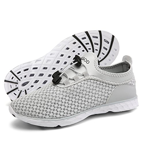 Slip Lightweight Shoes on Drying Quick Shoes Athletic Men's Walking Women's Water Aqua 1 and YUNGOD grey CRXqPx