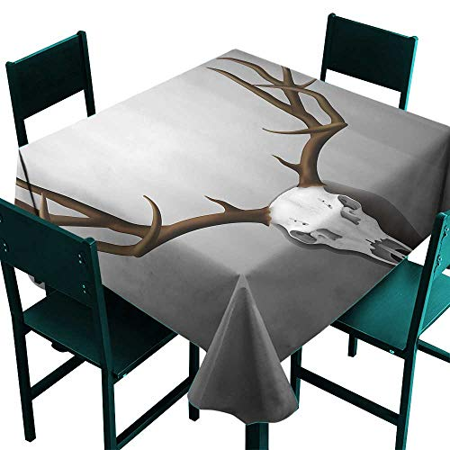 Glifporia Christmas Tablecloth Antler Decor,Realistic Deer Skull with Large Horns Elk Skeleton on Abstract Backdrop,Brown White Grey,W36 x L36 Tablecloths for Sale]()