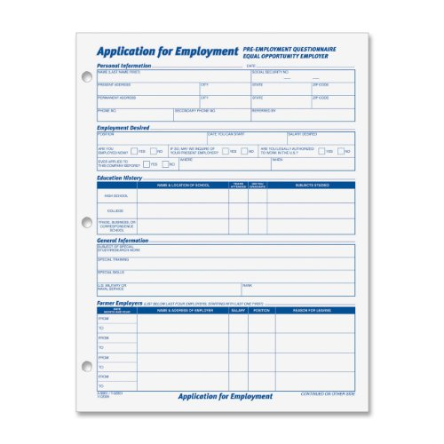 Tops 8 1 2 X 11 Inch Employee Application 50 Sheet Pads  2 Pack  32851