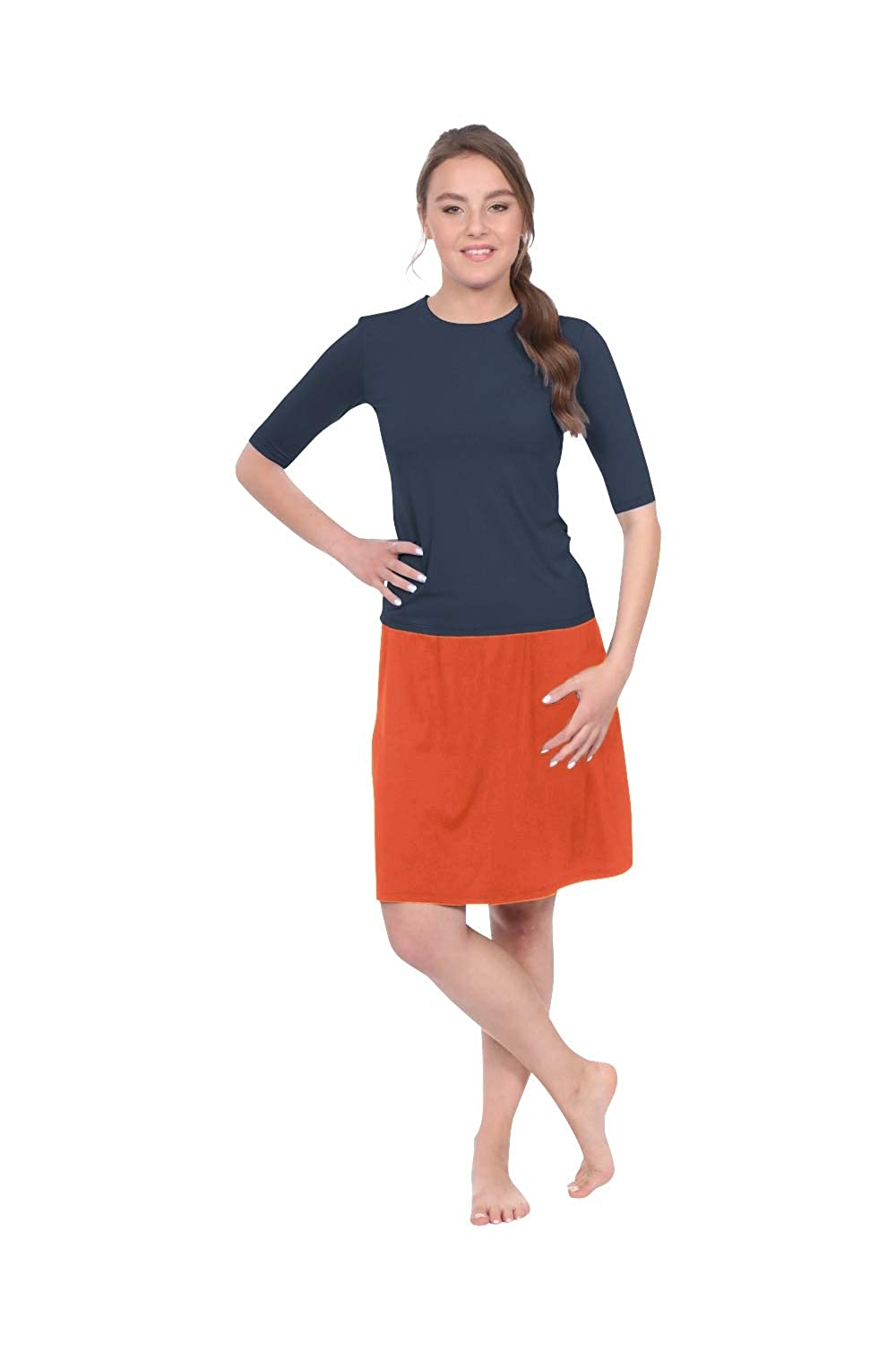 Flame orange Kosher Casual Women's to The Knee Length Running Skirt with Built in Shorts