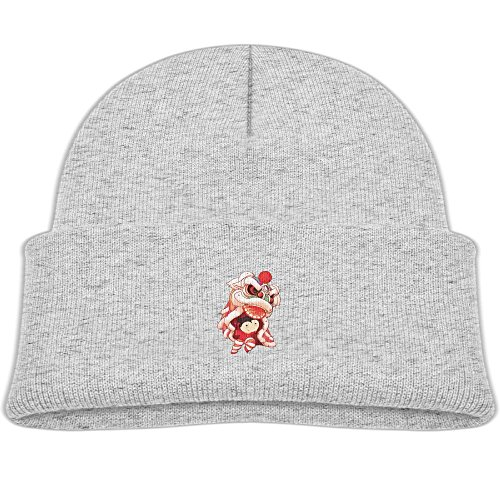 Children's 4 Colors Knitting Caps Funny Winter Cartoon Festive Lion Dancing New Year (Grey Mouse Onesie Costume)