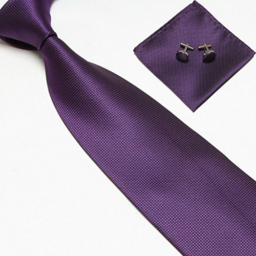 Zjzhao Fashion Woven Silk Necktie HandMade Mens Tie Cufflinks and Handkerchief Set Hanky Gift