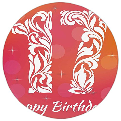 Swirls Seventeen Rug (Round Area Rug Mat Rug,17th Birthday Decorations,Floral Leaves Swirls Seventeen with Abstract Backdrop,Orange and Hot Pink,Home Decor Mat with Non Slip Backing)