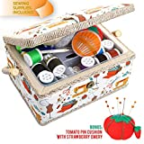 Large Sewing Box with Accessories Sewing Storage and Organizer with Complete Sewing Kit Tools - Wooden Sewing Basket with Removable Tray and Tomato Pincushion for Sewing Mending-White
