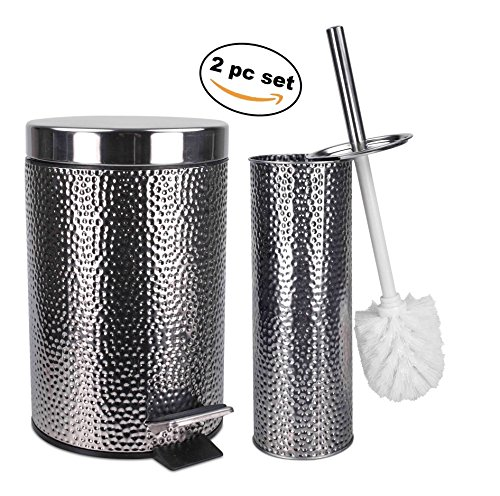 Elaine Karen Deluxe 2 pc Toilet Brush and Garbage Can Set -