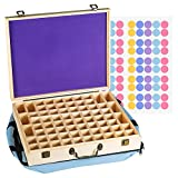 Bekith 72 Slot Wooden Essential Oil Storage Box - Holds 64 5-15ml Bottles & 8 Roller Bottle - Include Removable Pad, EO Labels & Carry Bag - Perfect For Travel and Presentation