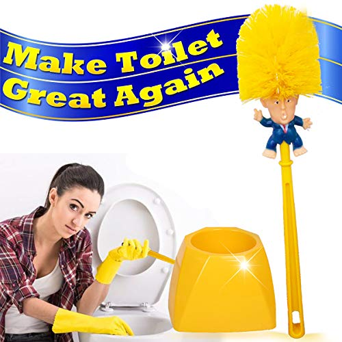 Brush Bowl Products Toilet (Donald Trump Toilet Brush Cleaner Scrubber Set Funny Trump Toilet Bowl Brush and Holder for Bathroom Storage Non-Skid Base Sturdy Deep Cleaning Make Toilet Great Again (Brush+Base) Ship from US)