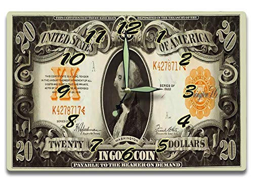 Gold Washington Dollar - George Washington Customized Money Clock United States Treasury Gold Coin Certificate Series 1922 20 Dollar Bill 8 x 12 inch Wall Clock US Revolution