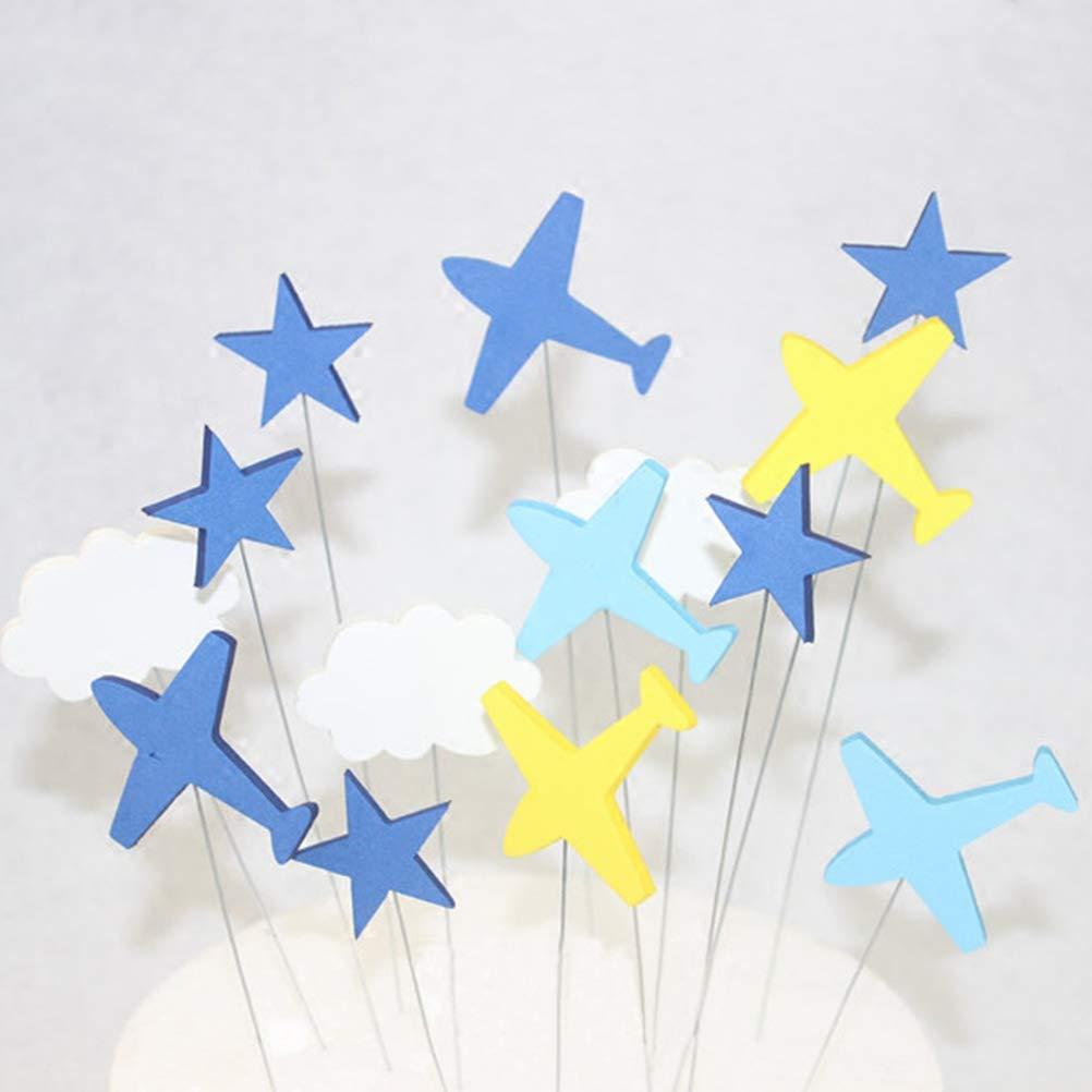 BESTONZON 16 PCS Topper Decorativo A Forma di Stella Cielo Aereo per Cupcake Torta Dolce Decorazione