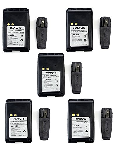 - Retevis 1500mAh 7.2V Ni-MH 2 Way Radio Battery and Walkie Talkies Belt Clip for Motorola Two Way Radios Mag One BPR40 A8 PMNN4071 PMNN4071AR 2 Way Radio(5 Pack)