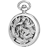 SIBOSUN Antique Phoenix and Dragon Skeleton Pocket Watch Mens Mechanical Silver Half Hunter Hand Wind