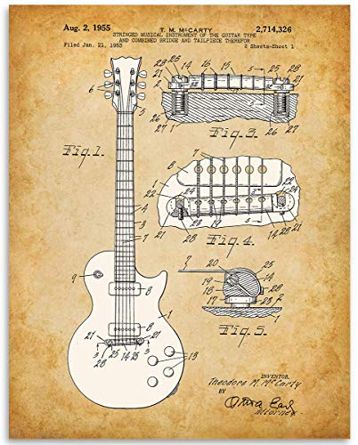 1955 GIBSON LES PAUL GUITAR Patent - 11x14 Unframed Patent Print - Great Gift Under $15 for Guitar Players
