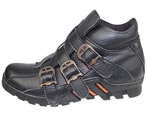 Herren Leder Arbeit Stiefel Schnürschuh High Top Knöchel Wandern Trail Biker Desert Komfort Schuhe b-33 Schwarz