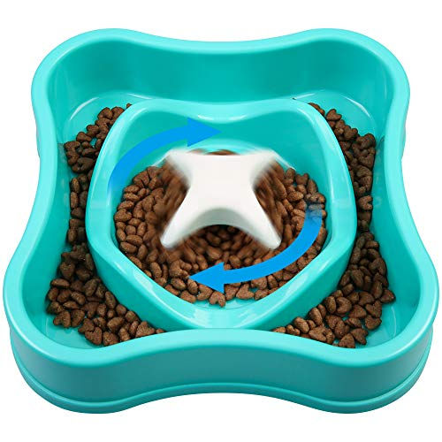 wangstar Slow Feed Dog Bowl 8 inch, Bloat Stop Dog Puzzle Bowl Maze, Dog Food Water Bowl Pet Interactive Fun Feeder Slow Bowl SkidStop Design (882, 201811 Blue)