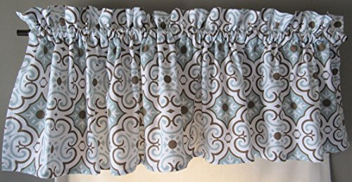 Blue Curtain Valance for Windows - Crabtree Collection - ...