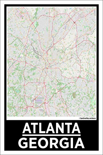 Spitzy's City Map Poster Featuring Atlanta Georgia, USA, 12x18 Inches, Detailed Travel Posters for Bedroom, Office, Game Room, Classroom, Wall Decor, Gift Idea for Mom, Dad, Kids (Atlanta Highway Sign)