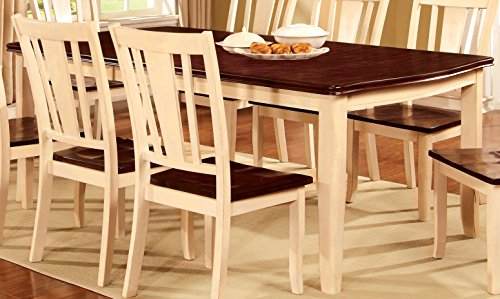 Furniture of America Macchio Transitional Dining Table, Cherry/Vintage White