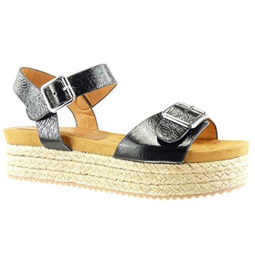 Angkorly - Chaussure Mode Sandale Espadrille plateforme femme brillant lanière boucle Talon compensé plateforme 4.5 CM - Noir