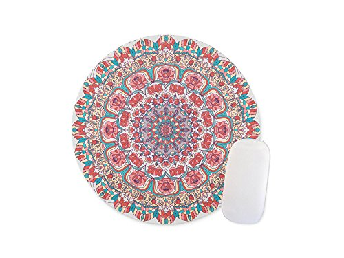 Seamless colorful floral hand drawn pattern with mandala Round mosue pad Gaming mouse pad Non-slip mouse pad