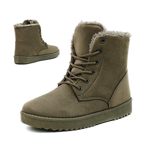 Damen Worker Boots Schnür Stiefel Stiefeletten in Lederoptik warm gefüttert Grün gefüttert