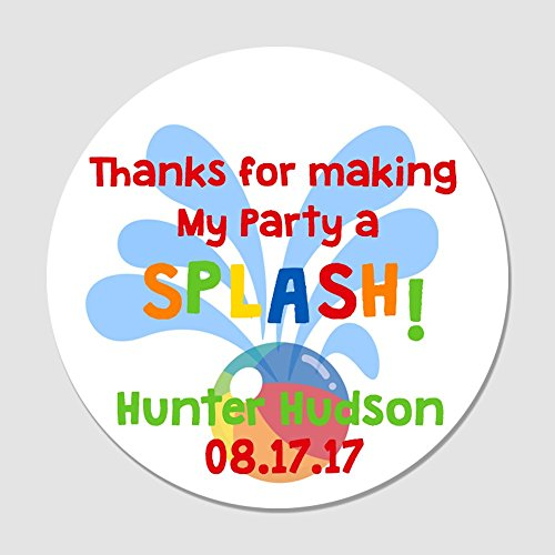 20 Personalized Pool Party Favor Label Stickers - Thanks for Making My Party a Splash Favor Tags ()