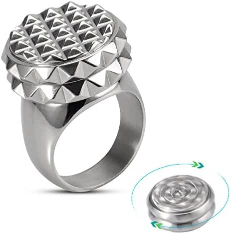 Fashion Rings Magic Jewelry set – Ring Gyro 316L Stainless Steel ring 360° Rotation Leisure Finger Spinner