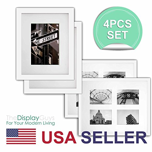 The Display Guys - 4 Sets 16x20 inches White Solid Pine Wood Photo Frame, Tempered Glass With White Core Mat Boards for 11x14 Picture + Collage Mat Boards for 4 - Matboard Decorative