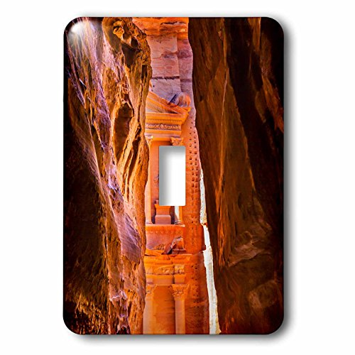 3dRose Danita Delimont - Jordan - Treasury building in the Outer Siq in Morning, Petra, Jordan - Light Switch Covers - single toggle switch (lsp_276930_1) (Building Treasury)