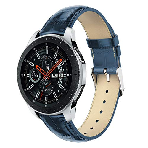 - REPOO Bands Compatible 46mm Samsung Galaxy Watch, Crocodile-Pattern Leather Replacement Band Bracelet for Samsung Galaxy Watch 46mm SM-R800/Gear S3 Frontier/Classic Watch (Blue)
