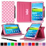 Galaxy Tab S 8.4 Case Samsung Galaxy Tab S 8.4 case rooCASE Slim Fit Leather PU Multi-Viewing Tabet Stand Folio Sleep Wake Smart Cover DOT PINK WLM